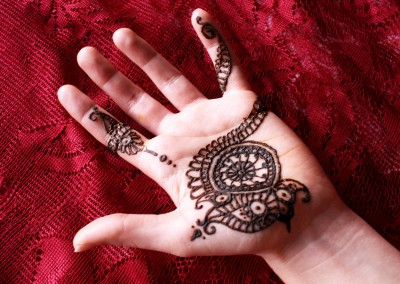 Henna on palm of hand